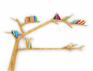wooden branch shelf with colorful books isolated on white