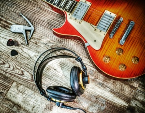 guitar and headphone in hdr