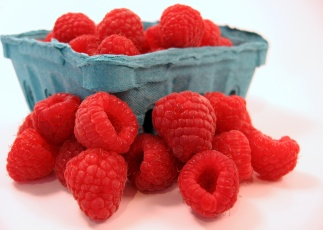 fresh raspberries spilling out of their pint container
