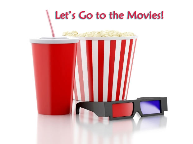 popcorn, drink and 3d glasses. 3d illustration